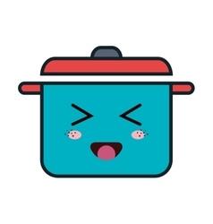 Kitchen pot kawaii style vector