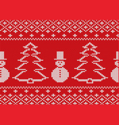 knit christmas design with snowmen and christmas vector image