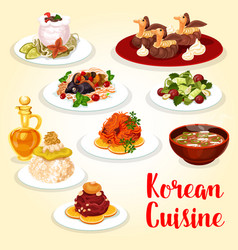 Korean cuisine icon of asian meat and fish dish vector