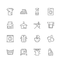 laundry service icons washing clothes laundromat vector image