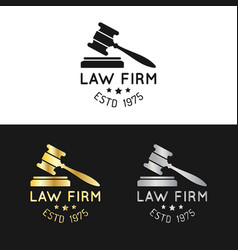law office logos set with gavel vector image