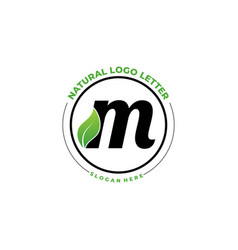 Letter m with leaf logo green leaf logo icon vector