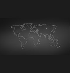 linear world map with location radial marker vector image