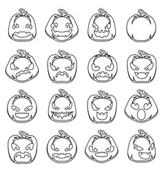 lineart halloween jack o lantern pumpkin scary vector image
