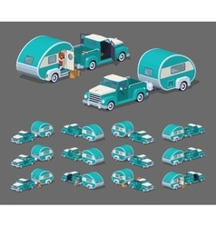 Low poly turquoise retro pickup with trailer house vector
