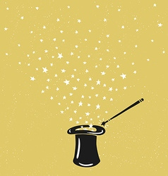 Magic hat background with stars dust and vector