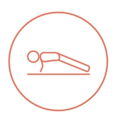 Man making push ups line icon vector image