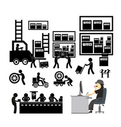 manufacturer and distributor icon for business vector image