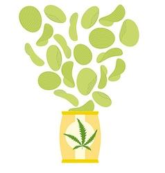 Marijuana and hemp chips Herbal green chips Chips vector