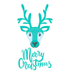 Merry christmas greeting card with furry deer vector