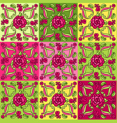 Mexican talavera ceramic tile pattern with flowers vector