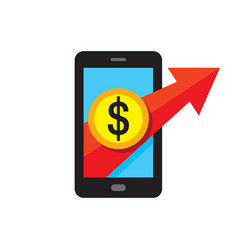 mobile phone payment icon in flat style digital vector image