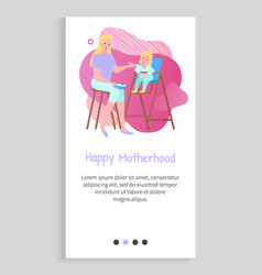 Mother feeding spoon daughter sitting on chair vector
