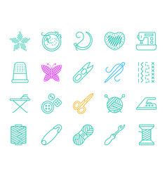 Needlework simple color line icons set vector