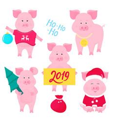New year s set of cute pigs santa claus costume vector