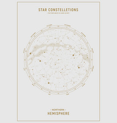 Northern hemisphere high detailed star map of vector