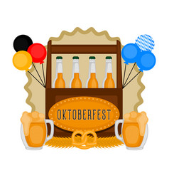 oktoberfest label with traditional objects vector image