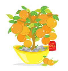 orange tree happy chinese new year cartoon vector image