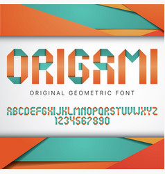 origami geometric typeface poster vector image