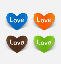 Paper sticker heart love vector