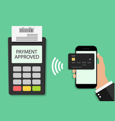 Payment from card in phone on pos terminal vector
