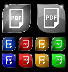 PDF Icon sign Set of ten colorful buttons with vector