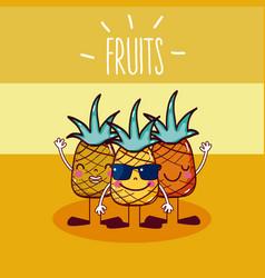 Pineapples fruits friends cartoon vector