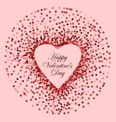 pink sequins heart frame happy valentines vector image