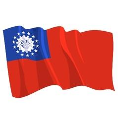 Political waving flag of myanmar vector