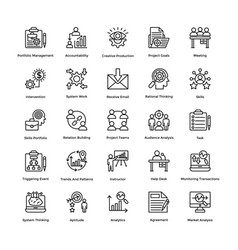 Project management line icons set 19 vector