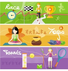 Race yoga and tennis concept vector