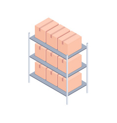 racks with boxes isometric vector image
