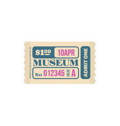 Random ticket to museum numbered paper card price vector