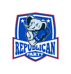 Republican Elephant Mascot Boxer Shield vector