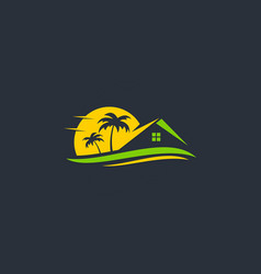 Resort beach house travel logo vector