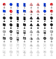 Road signs set icons in cartoon style big vector