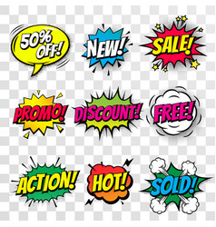 Sale discount shopping comic text bubble isolated vector