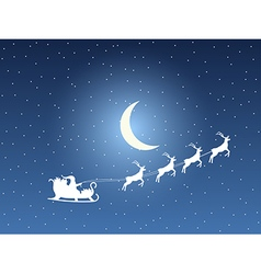 Santa Claus in sleigh on a background of the moon vector image