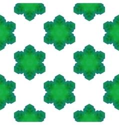 Seamless Green Snowflake Pattern vector image