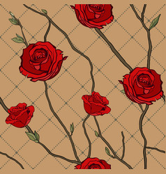 seamless pattern twigs and roses vector image
