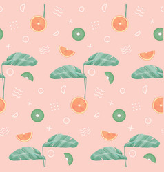 Seamless pattern with tropical leaves geometric vector