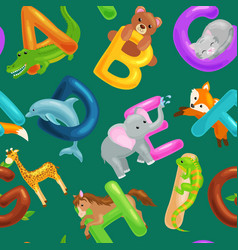 set animals alphabet for kids fish letters vector image