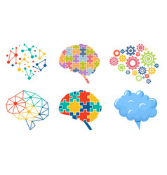 Set icons colorful brain polygonal shapes vector