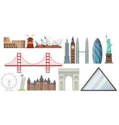 set of world famous tourist attraction vector image