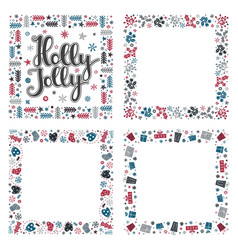 set of xmas greeting frames vector image