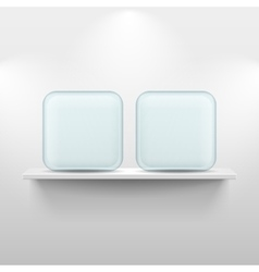 Shelf with glass app icons on white background vector