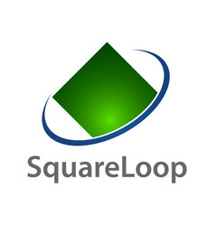 square loop logo concept design green blue color vector image
