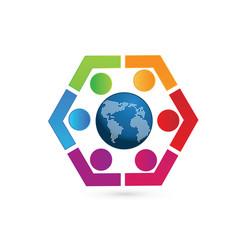teamwork world people united together logo vector image