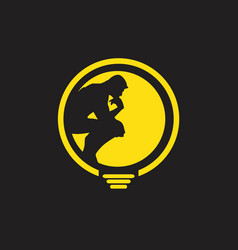 Thinker man logo finding idea vector