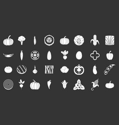 vegetables icon set grey vector image